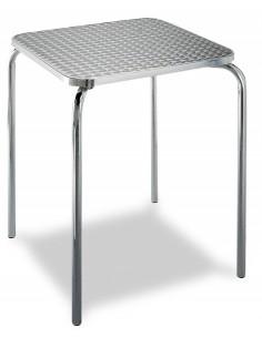 MESA ALUMINIO, TABLERO INOX DE 60 X 60 CM MOD 329